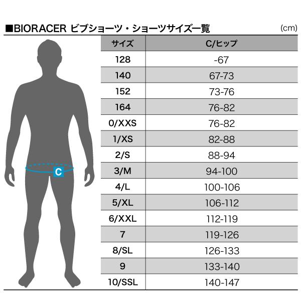 BIORACER ウェアサイズ一覧 ビブショーツ・ショーツサイズ一覧