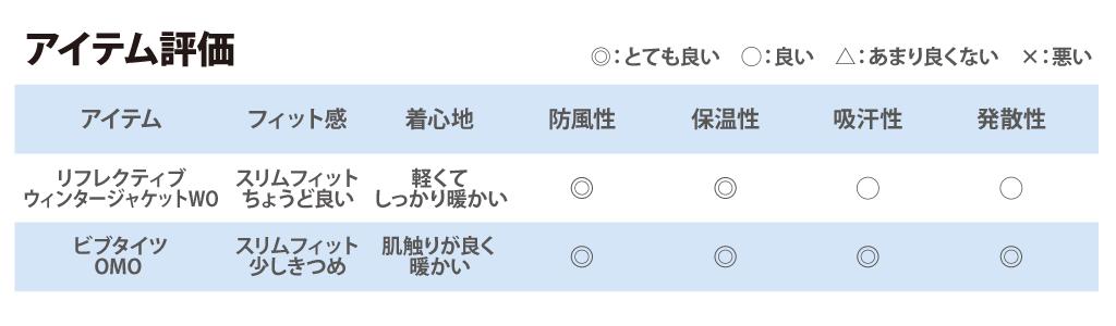 ウェア評価表